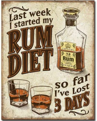 Rum Diet Metal Tin Sign Humor Funny Drinking Garage Dorm Man Cave Bar Home Gift