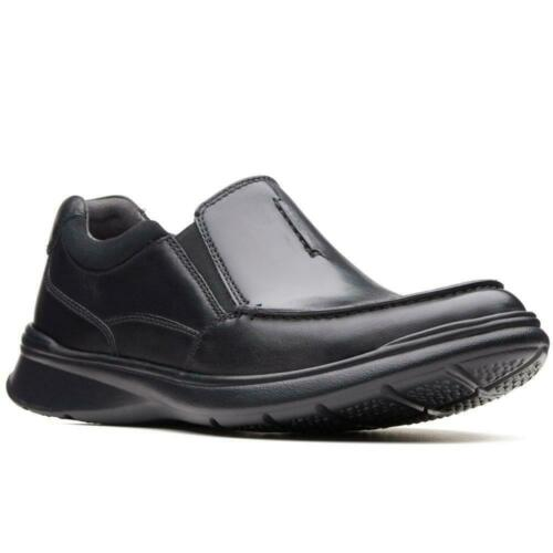 Clarks Men/'s Cotrell Free Black Leather Smart Cushioned Wide H Fit Slip On Shoes