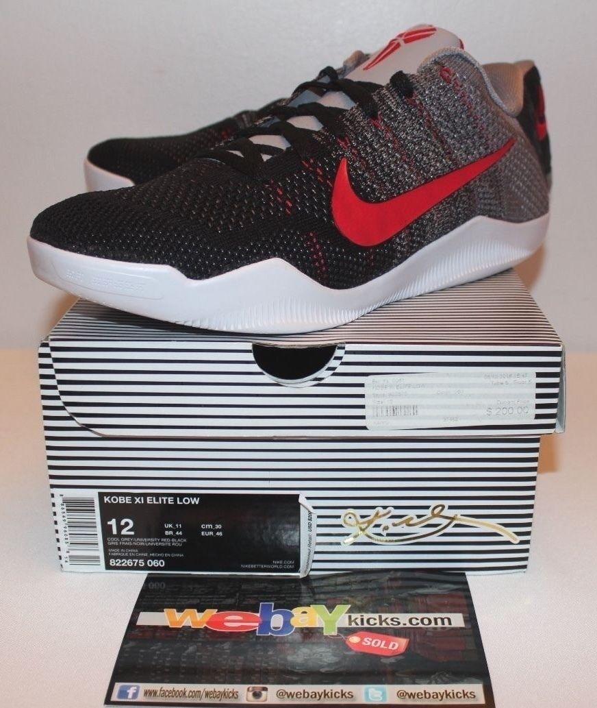 Nike air kobe 11 xi cemento grigio grigio nero delle scarpe rosse uomo numero 12 usato