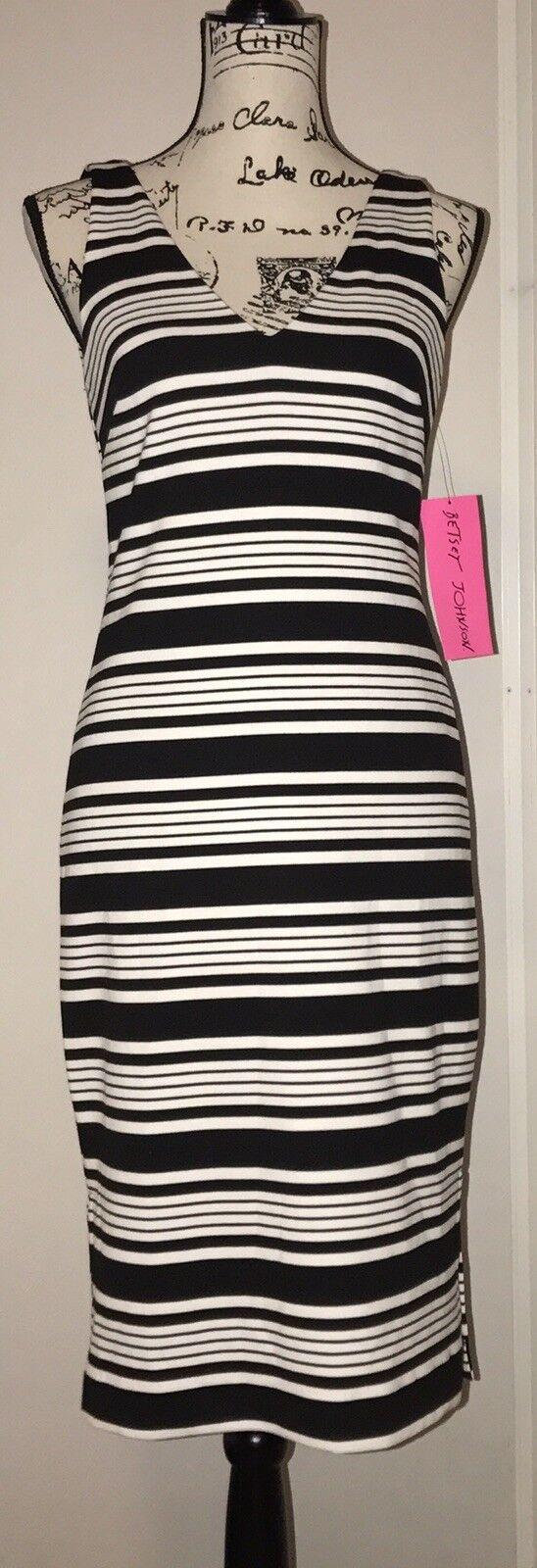 Betsey Johnson schwarz And Weiß Striped Sheath Dress Größe 2