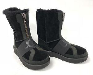 5857a153945 Details about Ugg Australia Conness Waterproof 1098373 Black Womens Boots  Zip Front Streetwear