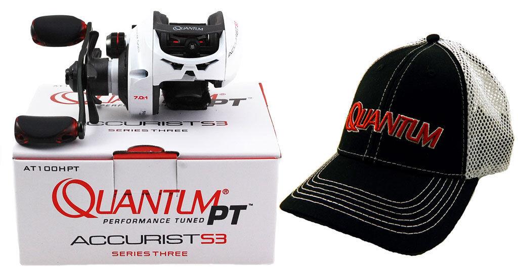 QUANTUM PT ACCURIST S3 AT100HPT 7.0 1 RIGHT HAND BAITCAST REEL + HAT