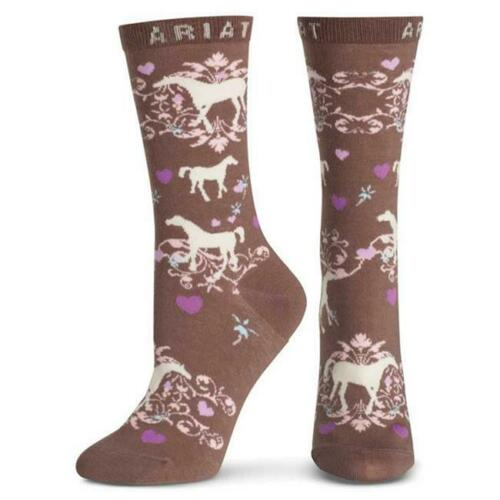 One size Ariat A10008586 Womens Horse Love Ankle Sock Taupe