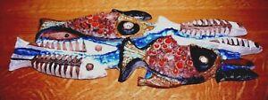 aardewerk terracotta ceramiek wandbord vissen  wall decor Poissons