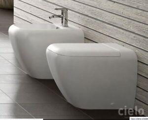 Sanitari Shui Ceramica Cielo.Dettagli Su Shui Sanitari Bagno Filo Muro Vaso Bidet Sedile 3pz Ceramica Cielo