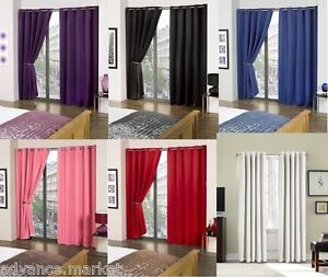 Image Is Loading SOLAR BLACKOUT THERMAL LINED CURTAINS WITH EYELET HEADINGS
