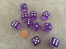 Set of 10 Six Sided D6 16mm Standard Rounded Translucent Dice Die - Purple