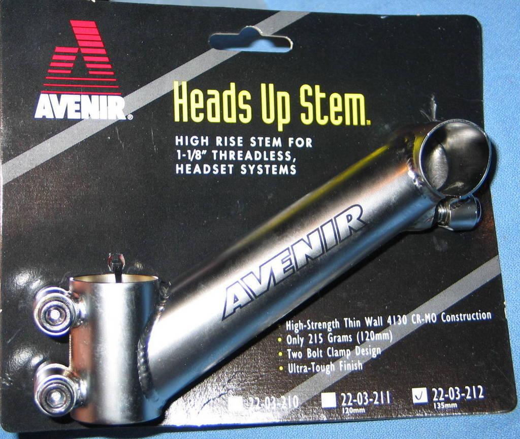 "AVENIR Heads-Up Stem Angle Adaptor 135mm for 1-1//8/"" Threadless Headset Systems"