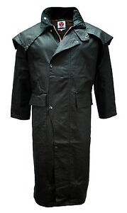 MENS-WAX-COTTON-STOCKMAN-LONG-CAPE-COAT-JACKET-WATERPROOF-BRANDED-Fishing-Riding