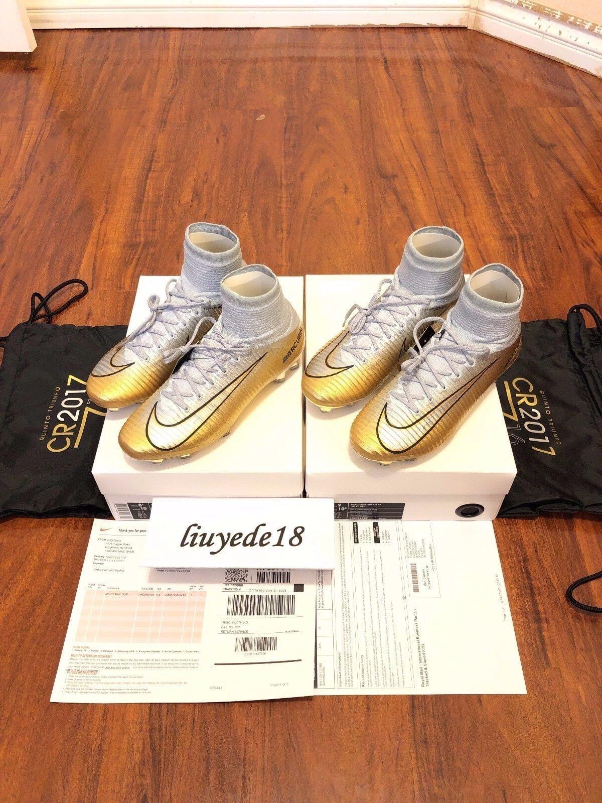 Nike MERCURIAL SUPERFLY V CR7 CR7 CR7 SE QUINTO TRIUNFO GOLD US 8.5 9 receipt AR0998 009 c5c50b