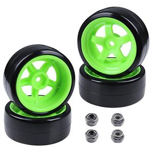 Hard Plastic 26mm RC Drift Car Tires /& Wheel Rims Green 12mm Hex For 1//10th Of