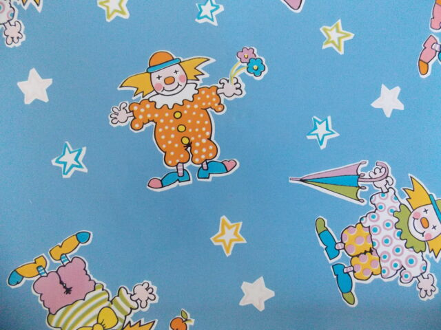 2m BLUE NURSERY CHILDRENS CLOWN FUN STICKY BACK PLASTIC VINYL FILM SELF ADHESIVE