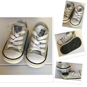 Converse lows infant baby girls toddler silver glitter  trainer pumps size uk 4