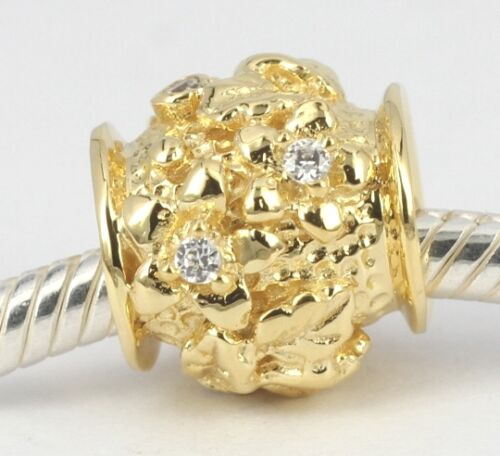2.8 GRAMS SOLID 9CT YELLOW GOLD Cz Flower Plant Blossom BEAD For Charm Bracelet
