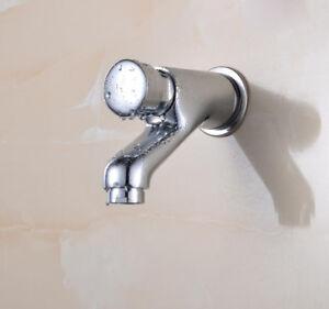 Bathroom-Brass-Self-Closing-Tap-Basin-Push-Faucet-Chrome-Single-Lever-Wall-Mount