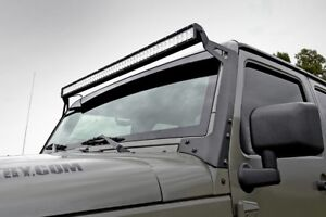 Jeep-50-inch-Straight-LED-Light-Bar-Upper-Windscreen-Mounts-07-18-Wrangler-JK