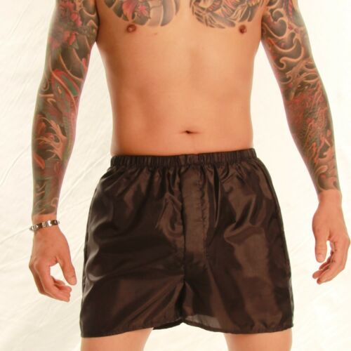 Silky Boxer Shorts with Fly Front Black S to 4XL