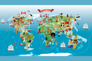 Image Is Loading Map Of The World Cartoon Style Kids Cute