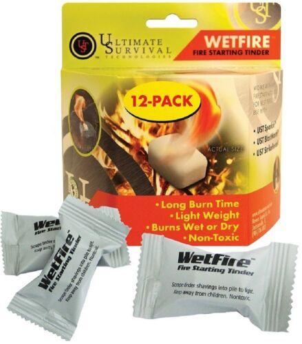Fire Starter Wetfire Fire Starting Tinder 12 Pack Camping /& Survival Gear 906