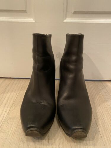 ACNE STUDIOS Black Leather Boots Size 40 Women's A