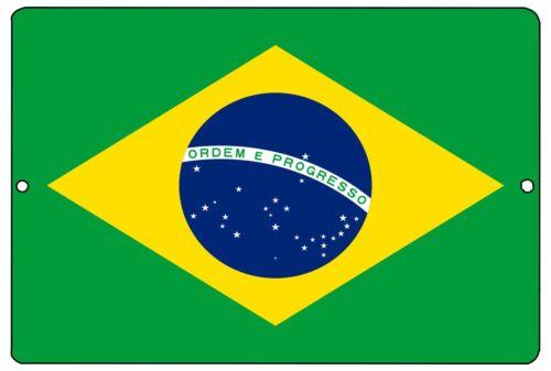 Brazil Flag Metal Tin Sign Wall Decor Man Cave Bar Brazilian