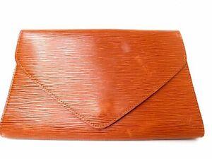 LOUIS-VUITTON-Epi-Art-Deco-Clutch-Pouch-Hand-bag-Brown-Auth