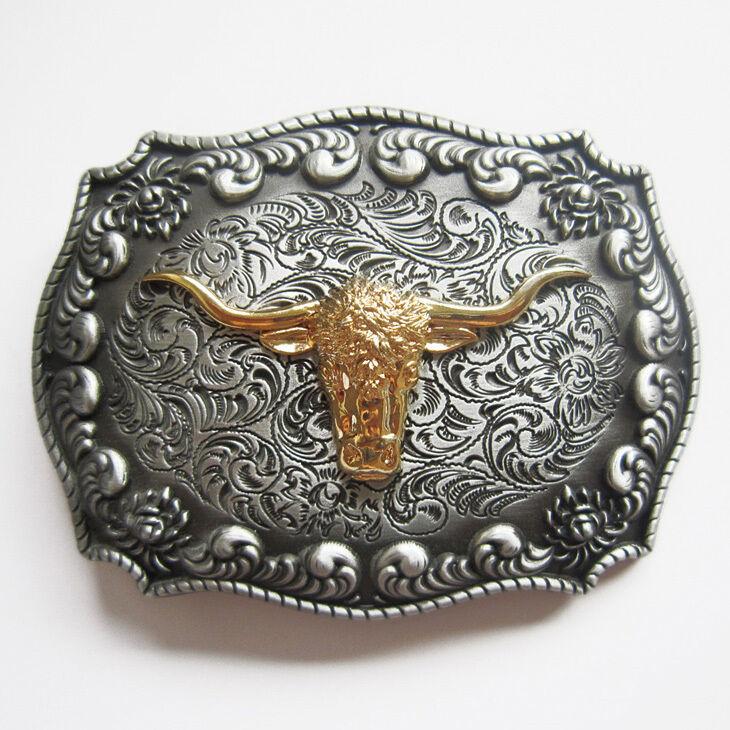 * Western Belt Buckle Skull Stier Longhorn Buffalo Cowboy Gürtelschnalle * 524