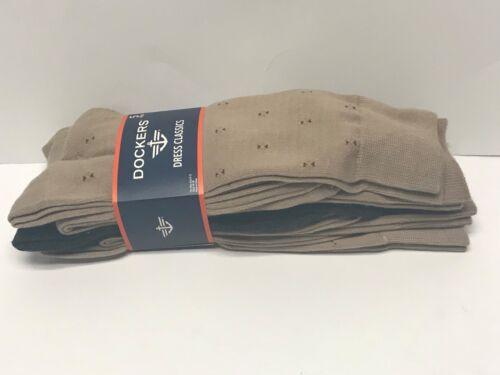 Khaki  /& Grey Assorted Sz 6-12 Dockers Men/'s 5 Pack Classics Dress Crew Socks
