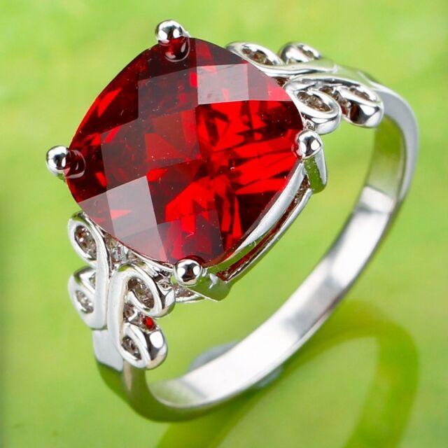Fashion Womens Elegant Garnet & White Topaz Gemstone Silver Ring Size 7 8 9 10