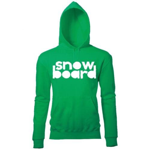 LARGE SNOWBOARD PRINT MENS WINTER SKI SNOWBOARD SEASON SLOGAN PRINTED HOODIE