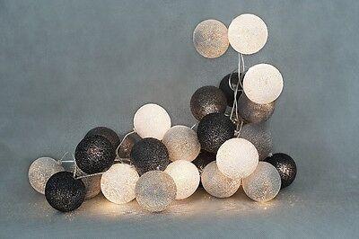 GREY COTTON BALL STRING LIGHTS HANDMADE,BEDROOM,DECOR,HAPPY WINTER,HOME,WEDDING