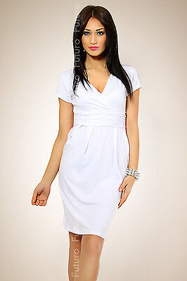 Magnificent Women's Dress Tunic V-Neck Stretchy Short Sleeve All Sizes FT834