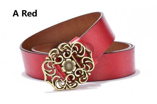 Retro Vintage Carved Floral Flowers Women Buckle Belt Genuine Real Leather Jeans