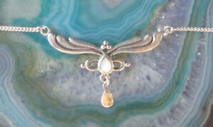 Necklace-Stylized-Wing-925-Sterling-Silver-Pearl-White-Antique-Style