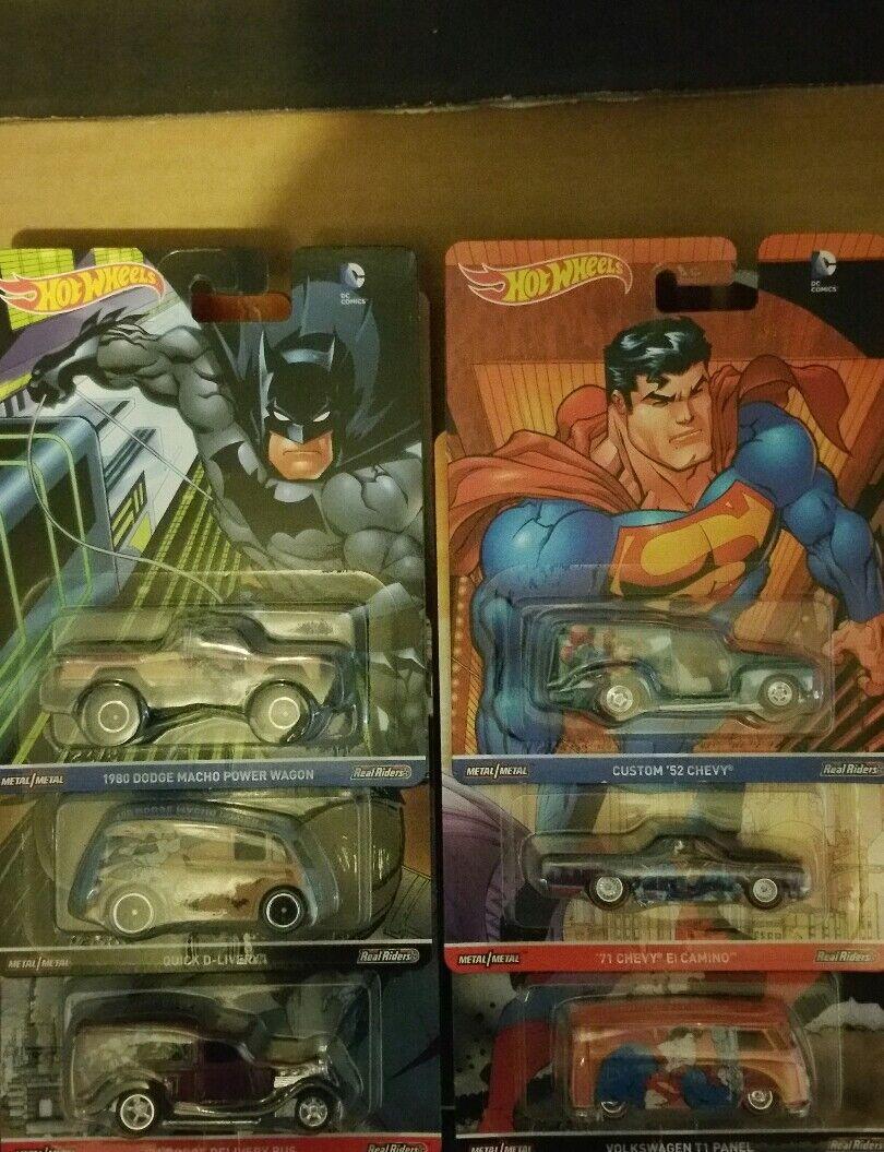 HOT WHEELS POP CULTURE Batman Superman Set complet de 6 real riders