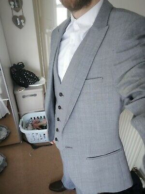 Inventive River Island 3 Piece Suit Gray Small 30 Leg And Waist Trousers With Suit Bag Beautiful And Charming
