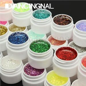 36-Couleur-Paillette-UV-Gel-Construction-Extension-Ongle-Base-Manucure-Nail-Art