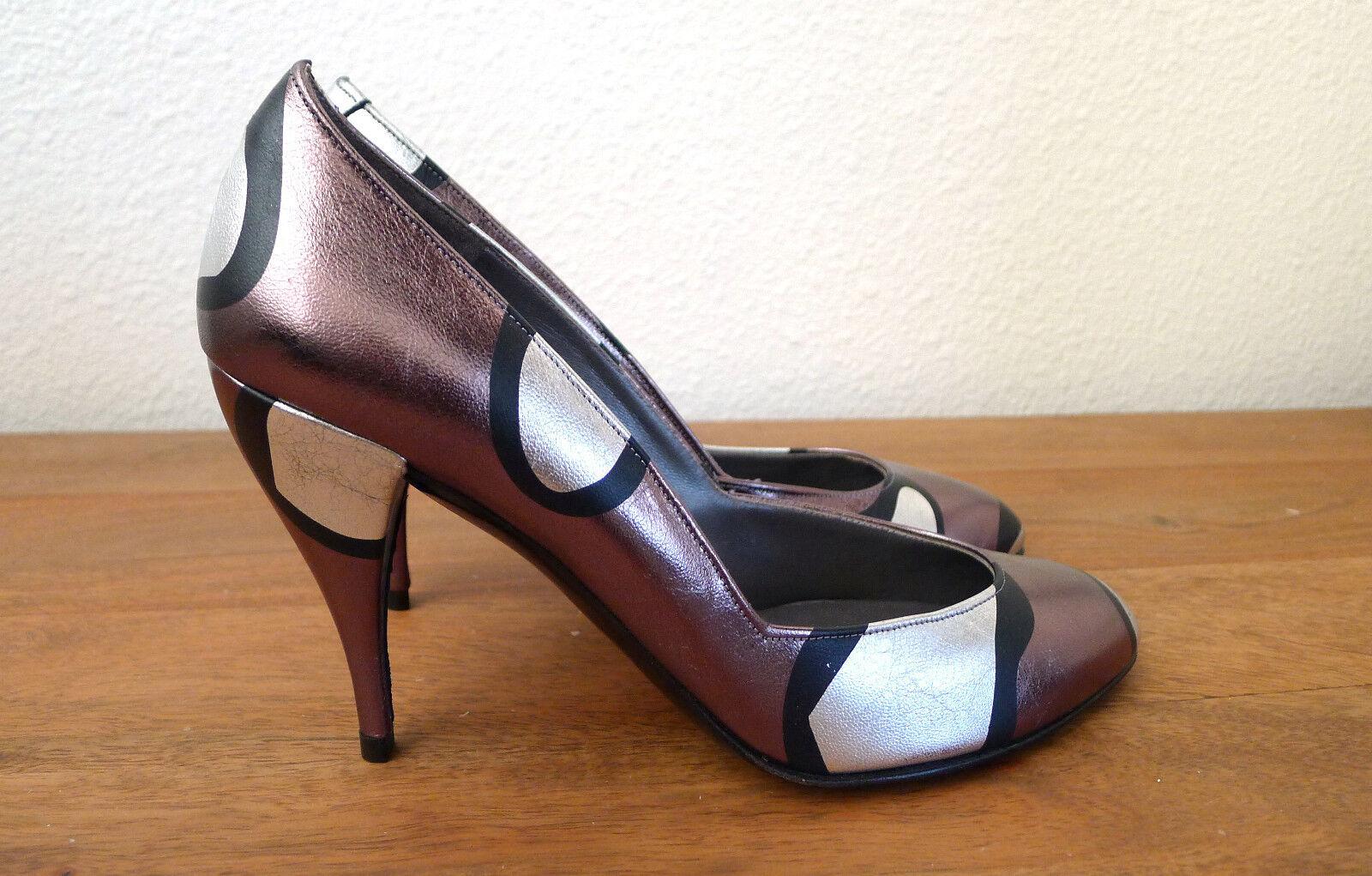 connotazione di lusso low-key Charles Jourdan Paris France Vintage Leather Heels Metallic New New New 1980s 7 37  scelte con prezzo basso