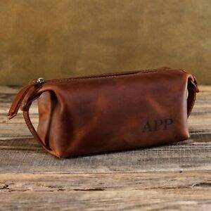 f7519ecd42 Image is loading Leather-Toiletry-Bag-Men-Personalized-Dopp-Kit-Handmade-