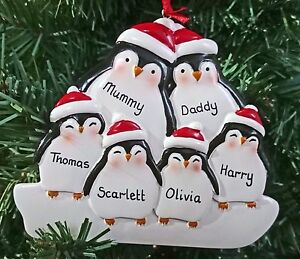 image is loading personalised xmas penguin family 5 6 christmas tree