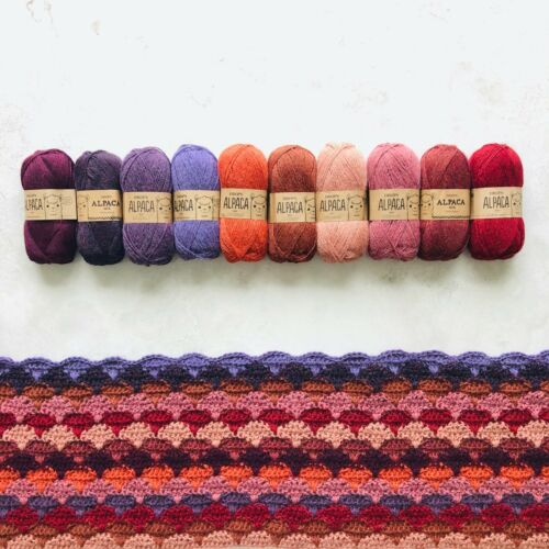 10x50g 100/% Superfine Peruvian Alpaca 4ply yarn knitting crochet gift set SUNSET