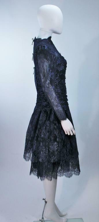 ARNOLD SCAASI Navy Metallic Lace Cocktail Dress S… - image 9