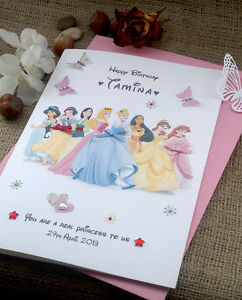 Image Is Loading Large Handmade Personalised Disney Princess Birthday Card Any