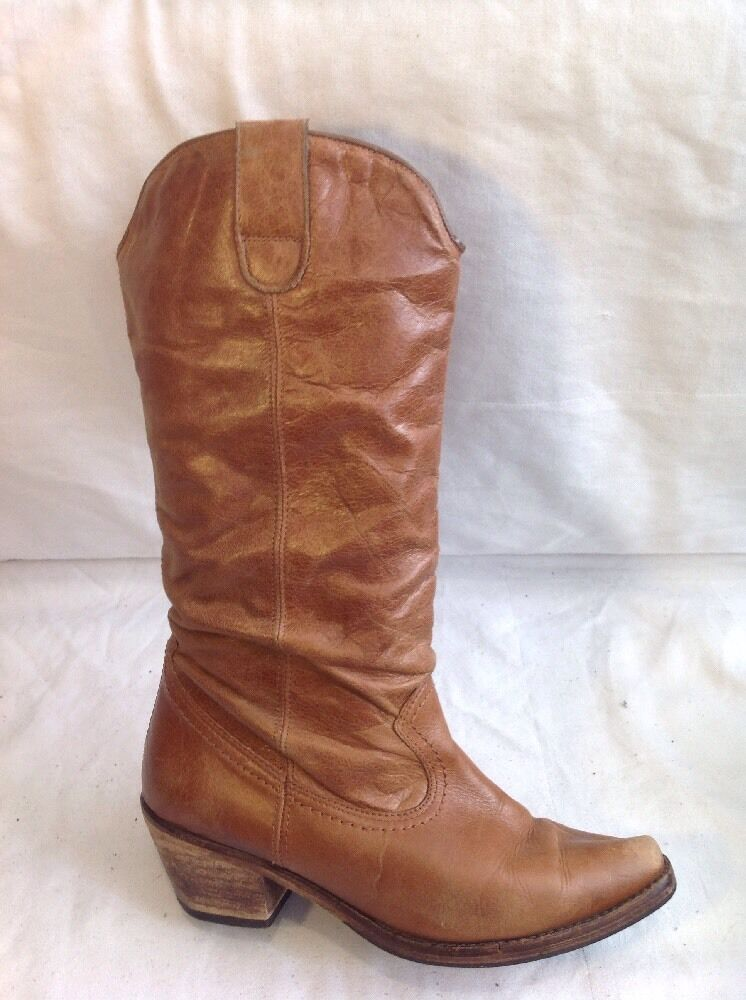 Ladies Brown Mid Calf Leather Boots Size 36