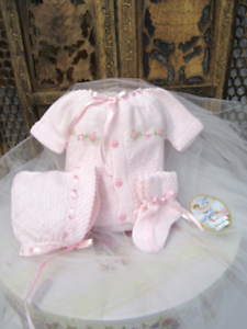 NWT Will/'beth Pink Knit 4pc Ribbon Diaper Set Preemie Baby Girls Hat Booties