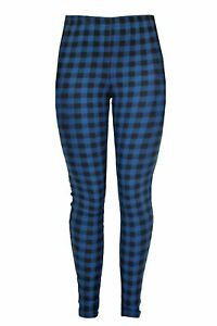 Ex-Topshop-Clearance-Black-Blue-Dogtooth-Check-Long-Leggings-Size-6
