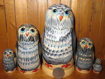 Energico Gufo Grigio Matrioska Bambole Russe 5 Opaco Babushka Semyonova Regalo Superiore (In) Qualità