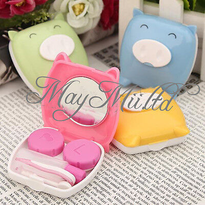 Travel Cartoon Piggy Contact Lens Case Mirror Tweezer Stick Bottle Holder Box J