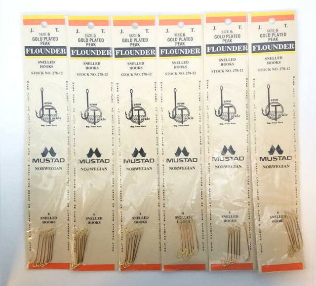 6 PACKS OF JEROS TACKLE SIZE 6 GOLD PLATED PEAK FLOUNDER SNELLED HOOKS 6PERPACK