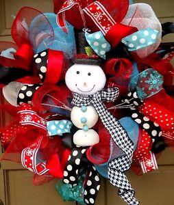 Handmade-Winter-Deco-Mesh-Snow-Man-Christmas-New-Year-Holiday-Wreath-Door-Decor